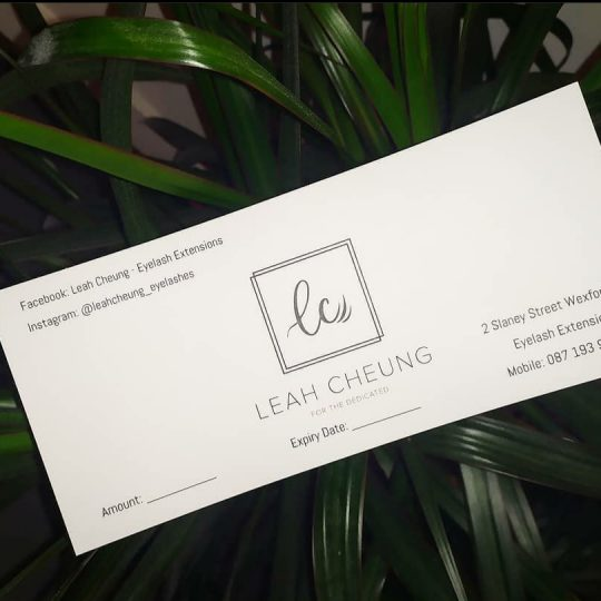 Leah Cheung Eyelash Gift Cards Beauty Vouchers Wexford